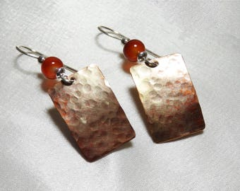 Copper Patina Rectangle Earrings with Carnelian