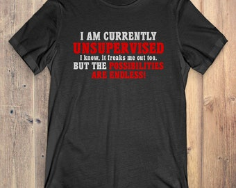 Funny Sarcastic T-Shirt Gift: I Am Currently Unsupervised I Know If Freaks Me Out Too But The Possibilities Are Endless