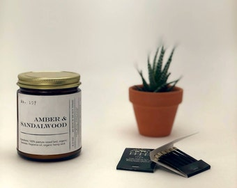 No. 107 Amber & Sandalwood 6.5 ounce Candle; Natural Candle; Lard Candle; Organic Beeswax Candle; Container Candle