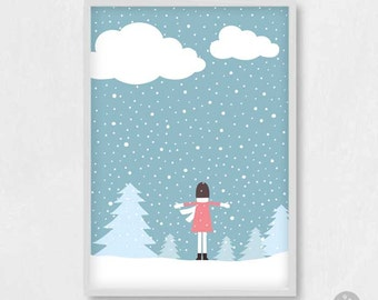 Christmas card, personalized name, set of 6, 12, girl in snow poster print, let it snow, xmas present gift, winter scenery, pine tree, A4 A3