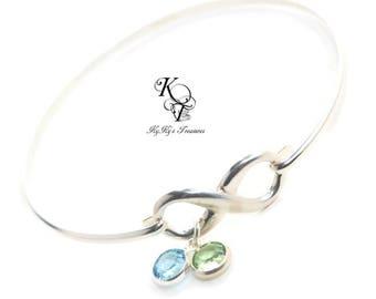 Infinity Bracelet - Sterling Silver Birthstone Bracelet - FREE Gift Box - Mothers Bracelet - Mothers Jewelry - Mom Gift - Gift for Her