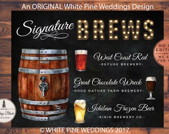Printable Wedding Beer sign, Wedding Signature Brew sign, Beer Keg sign, Wedding Bar sign, Beer Menu, Brewery sign, Hand Crafted Beer sign