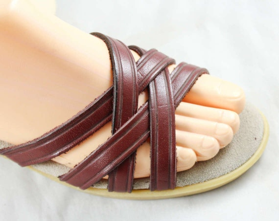 Insoles Retro Leather Flops Brown Shoes Leather Sandals Nice Quality Size 1970s Wimzees Padded 47695 6 Late 70s Straps Summer Flip q7p4Paw
