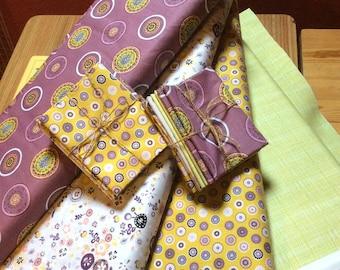 fat Quarter Bundle, quilt fabric bundle, mauve mustard, 100% cotton quilting fabric, Inprint Jane Makower - Folk