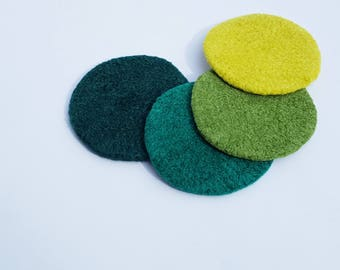 4 felted wool coasters: poppin greens