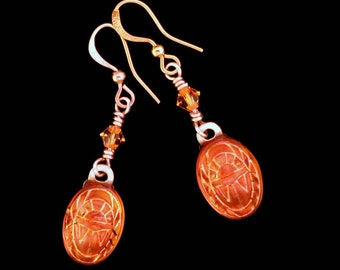 Glass Scarab Earrings Amber with Gold Engravings Scarab Drop Dangle Earrings
