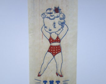 Vintage 1940s 40s Dynamite Pinup Bombshell Vixen Iron On Tee T Shirt Fabric Transfer -Deadstock/Nos-