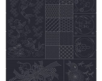 Wagara Sashiko panel with leaping carp, tabane noshi, rabbits, cats, bamboo QH Textiles HF-1113