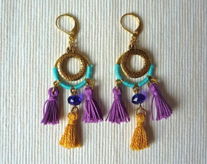 Boho Earrings - tassel earrings - golden metal - clip on earrings - dangle and drop earrings - tribal - ethnic - gift for her