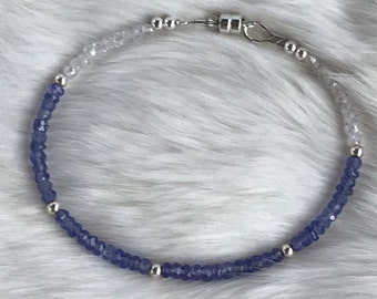 Genuine Tanzanite, White Zircon and Sterling Silver beaded bracelet with magnetic clasp