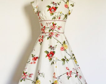 UK Size 12 Windsor Blossom Tea Dress - Made by Dig For Victory