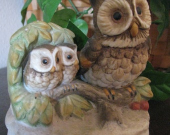Owl figurine, adorable cute collectable, mama with her two babies