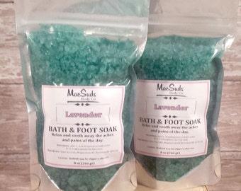 Lavender Foot Soak, Lavender Body Soak, 8oz pouch, Foot Soak, European Spa Salts, Foot Care, Relaxation Salts, Soothing Bath Salts