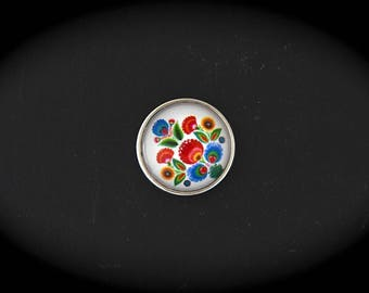 Cabochon 18mm for jewelry - Russia fancy pressure: multicolor flowers