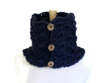 Navy blue scarf with buttons, navy blue cowl scarf, chunky crochet scarf, crochet cowl scarf, blue scarflette, oversized blue scarf
