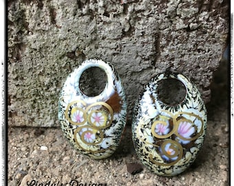 Brown Crackle Oval Enamel Charms