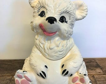 White Bear Ceramic Cookie Jar Gilner California Pottery G-405 1950's Era Biscuit Jar Cookie Jar Collector Gift Bear Lover Gift