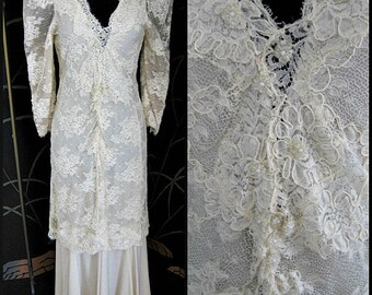 DIGNA YERO Wedding Gown / Digna Yero Bridal / fits S-M / 30s wedding dress style / vintage lace wedding gown / 80s does 30s Bridal Gown