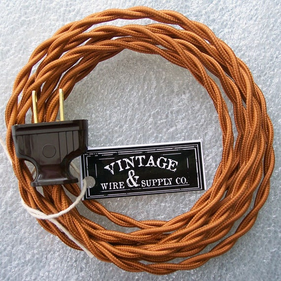 copper cloth covered wire lamp cord 8 ft cordset rh etsy com wiring lamp cord switch rewire lamp cord