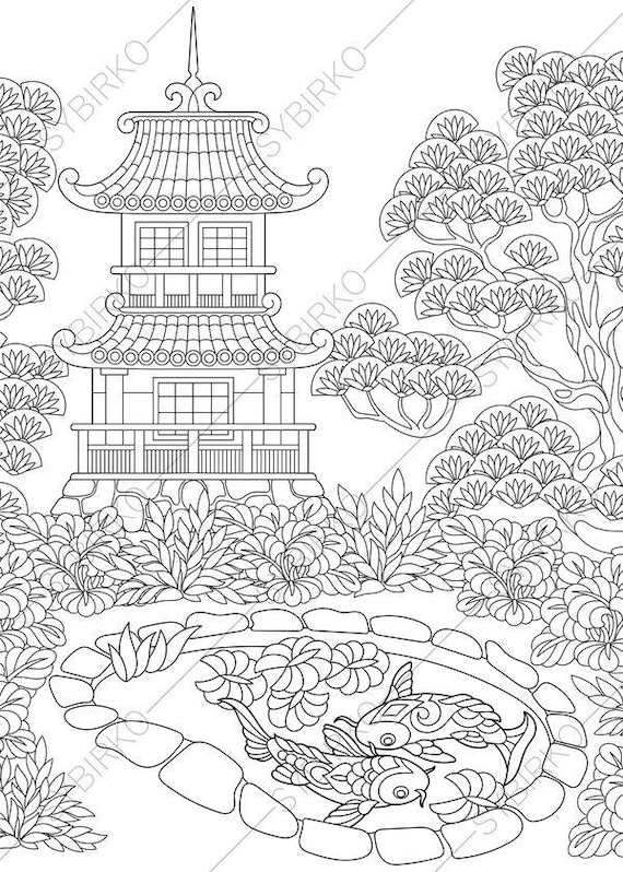 Adult Coloring Page Japanese Masks