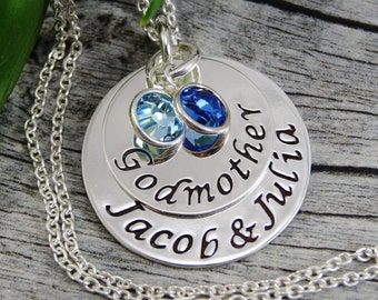 Godmother Necklace - Hand Stamped Jewelry - Personalized Jewelry - Sterling Silver Necklace - Name And Birthstone