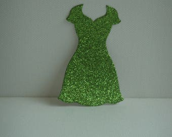 """Cutout dress """"V"""" in green glitter for scrapbooking and card Board"""