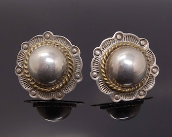 Vintage Mexican Earrings Sterling Silver Taxco Mexico Round Stamped Pierced Ear Stud Earrings