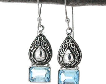 Sterling Silver Pear and Square Bottom Blue Topaz Drop  Earrings, Oval  Bali Filigree Blue Topaz Earrings, Silver Bali Earrings
