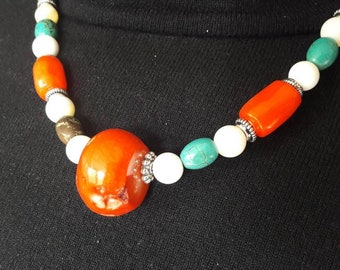 Tibetan necklace, Turquoise and coral orange n3