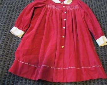 smocked Christmas dress (3T-5), Valentine dress, red corduroy dress, child dress, Holiday dress, vintage, button front, smocking, EN20