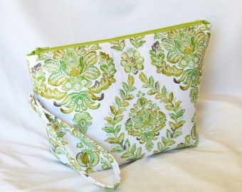 Knitting Project Bag / Crochet Project Bag / Arts & Crafts Storage / Floral Project Bag / Zippered Project Bag / Green Bag