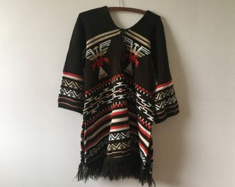 Vintage 70's long sleeve poncho sweater