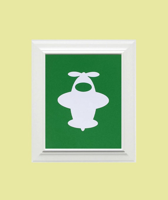 Custom Personalized Airplane Picture, Children's Wall Art, Kid's Wall Art, Nursery Wall Art, Airplane Wall Art-Green, White