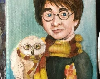 Harry Potter painting  5x7 acrylics on canvas by Chris Jay
