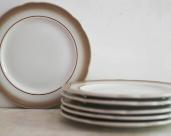 Vintage Jackson China Dishes, Lot of Plates, Dessert, Sandwich, Set of 6, Diner Ware