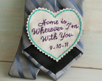 Groom Gift. Hand Embroidered Tie Patch. Groom Gift from Bride. Necktie. Tie Patch. Gift for Him. Wedding. Sew Happy Girls.