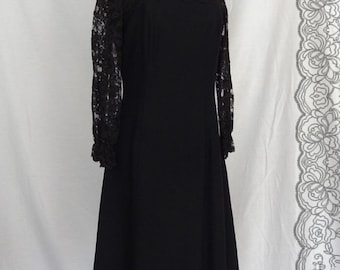 DRESS SALE!!! / 1960s Dress /  Little Black Dress Bow Detail on Back Sheer Lace Sleeves