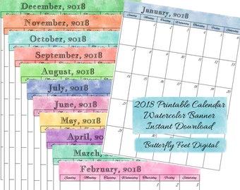2018 Printable Calendar, Monthly Calendar, Letter Size, Watercolor Art, JPG 300 dpi, Instant Download
