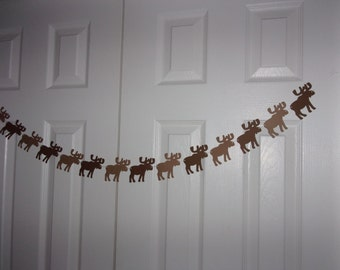 Moose Garland - Kraft & Brown Cardstock Paper Hunt Hunting Baby Shower Outdoor Woodland Animal Birthday Party Banner