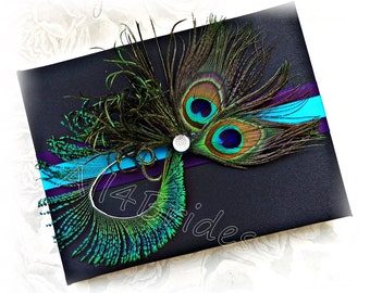 Peacock Guest Book - Purple Plum and Turquoise Peacock Wedding Decorations