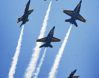 US Blue Angels Military Aircraft Jet Aviation Airplane Art Print Poster