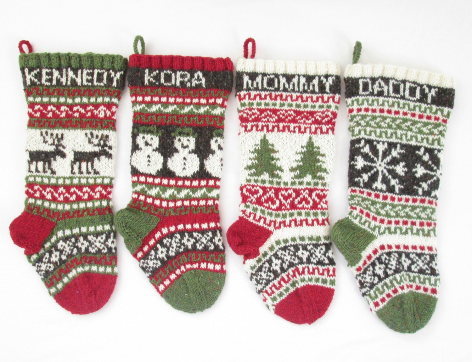 Knitted Christmas Stockings set of 4 fair isle Knit