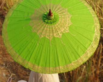Hand Painted Green Parasol With FREE Umbrella Bag, Green Umbrella, Parasol, Umbrella, Parasols, Umbrellas, Wedding Parasol, Parasol Umbrella