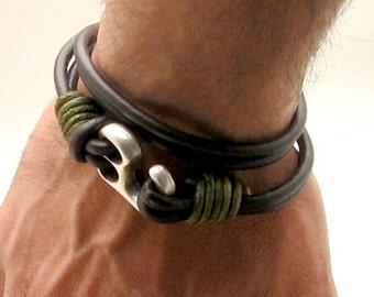 Birthday Gift for Men, Leather Bracelet, Man Bracelet, Leather Bracelet for Men, Mens Gift Husband Gift for Anniversary Gift, Mens jewelry