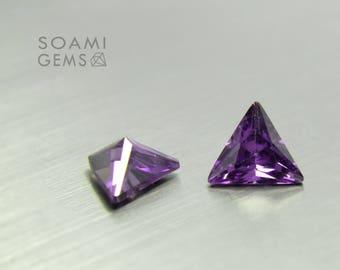 Loose Cubic zirconia triangle purple, 5x5, 6x6, 7x7, 8x8, 9x9, 10x10 mm triangle cut amethyst loose cubic zirconia faceted gem