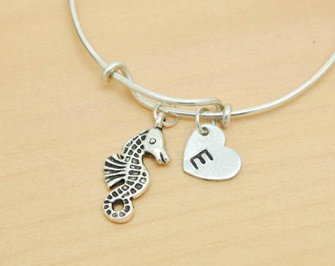 Seahorse Bangle, Sterling Silver Bangle, Seahorse Bracelet, Bridesmaid Gift, Personalized Bracelet, Charm Bangle, Initial Bracelet