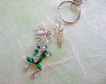 Frog Key Chain, Rhinestone Frog Purse Charm, Rhinestone Frog Zipper Pull, Frog Rhinestone Keychain, Frog Purse Charm, Cute Key Chain, K48