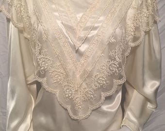 Sonya ratay san andre size 10 vintage blouse top ployester unique rare lace long sleeve