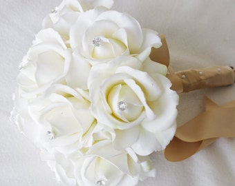 Silk Wedding Bouquet - Natural Touch Off White Ivory Roses Silk Flower Bride Bouquet - Almost Fresh