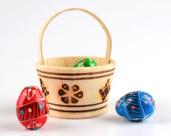 Miniature Russian Easter Eggs - Mini Pisanki Eggs - Tiny wooden painted eggs in a wooden basket